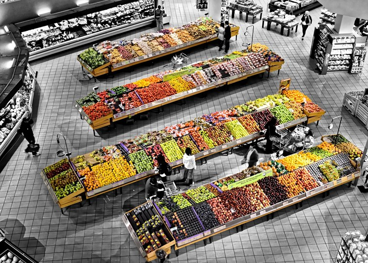 fruit and veg in a supermarket