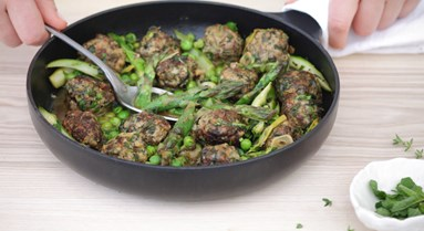 Minted Lamb Meatballs with Asparagus