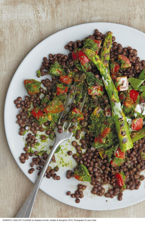 Black lentils, cherry tomatoes and asparagus all combine for a delicious salad
