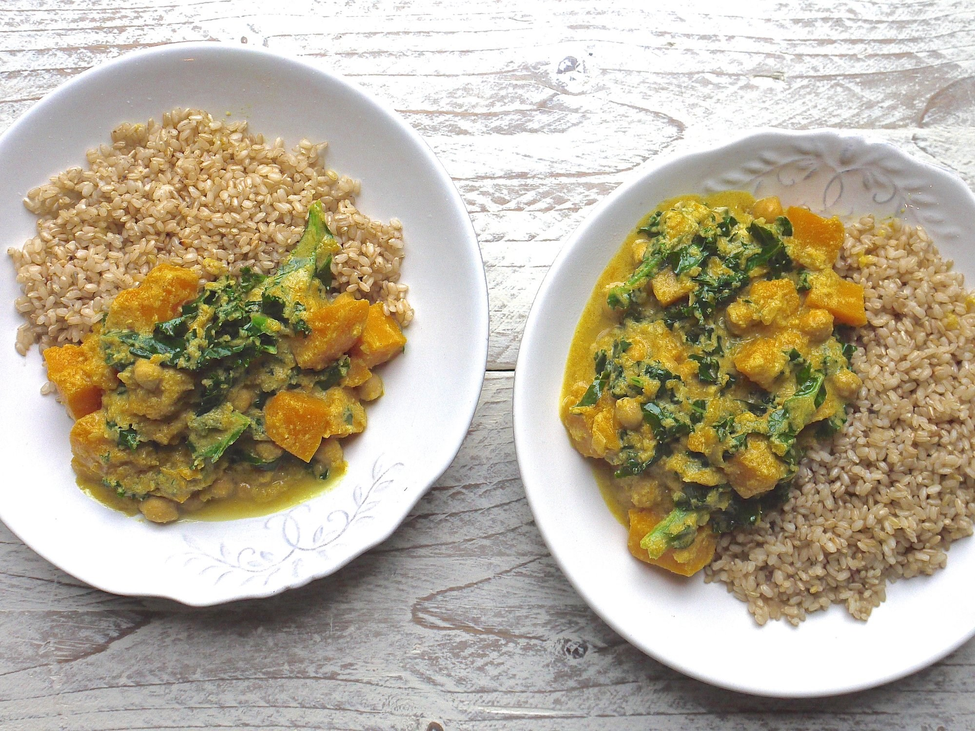 Kale Chickpea and Butternut Squash Curry