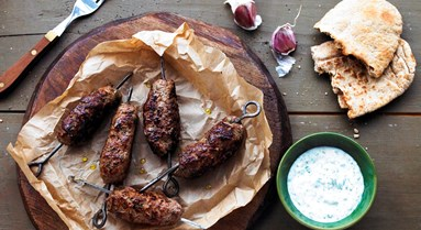 Minted Lamb Kebabs with Herb Yogurt Dip