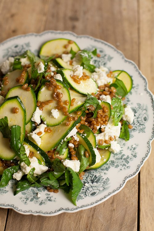 Courgettem broad bean and spelt salad