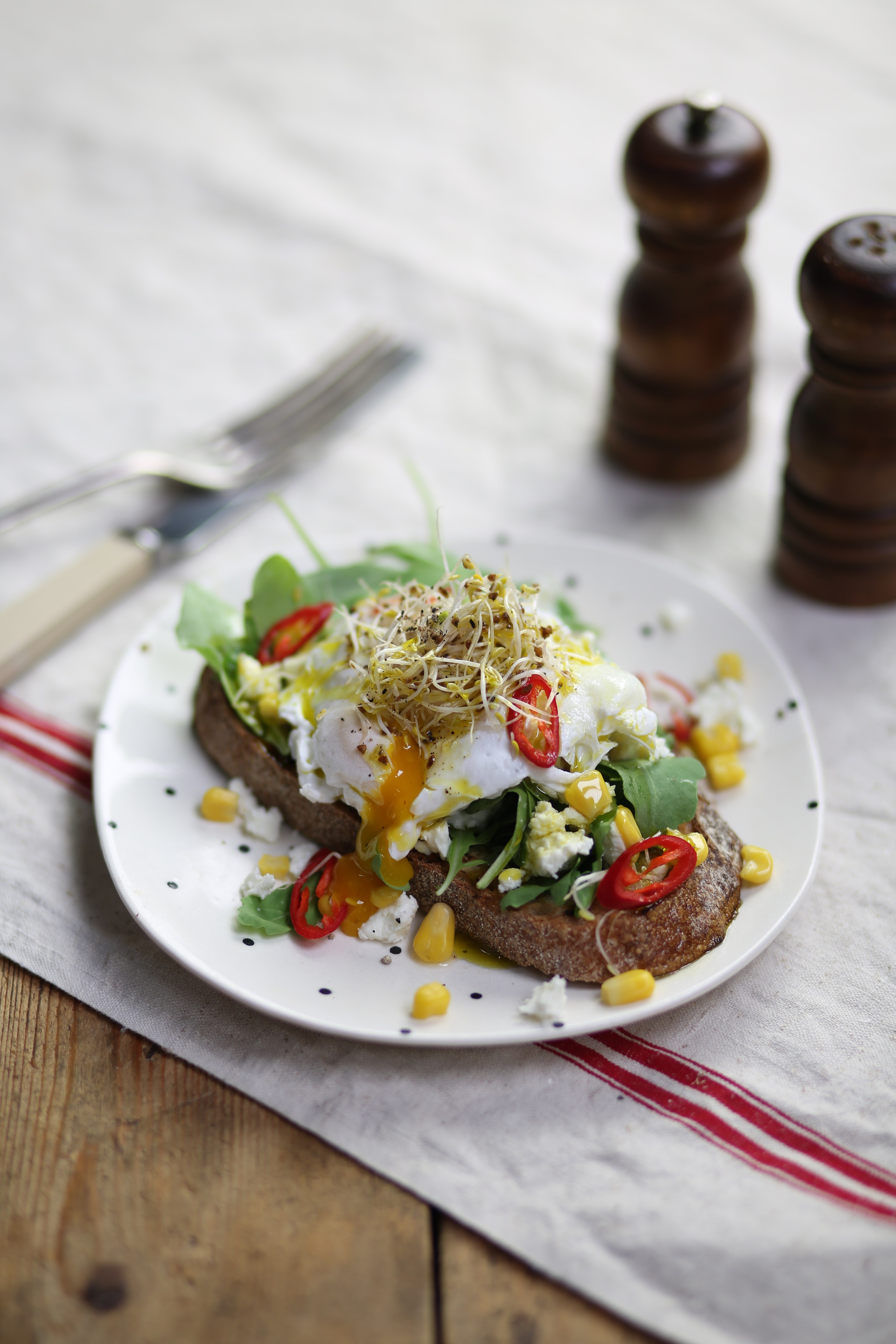 Abel & Cole - Poached Egg on Toast with Feta & Sweetcorn.JPG