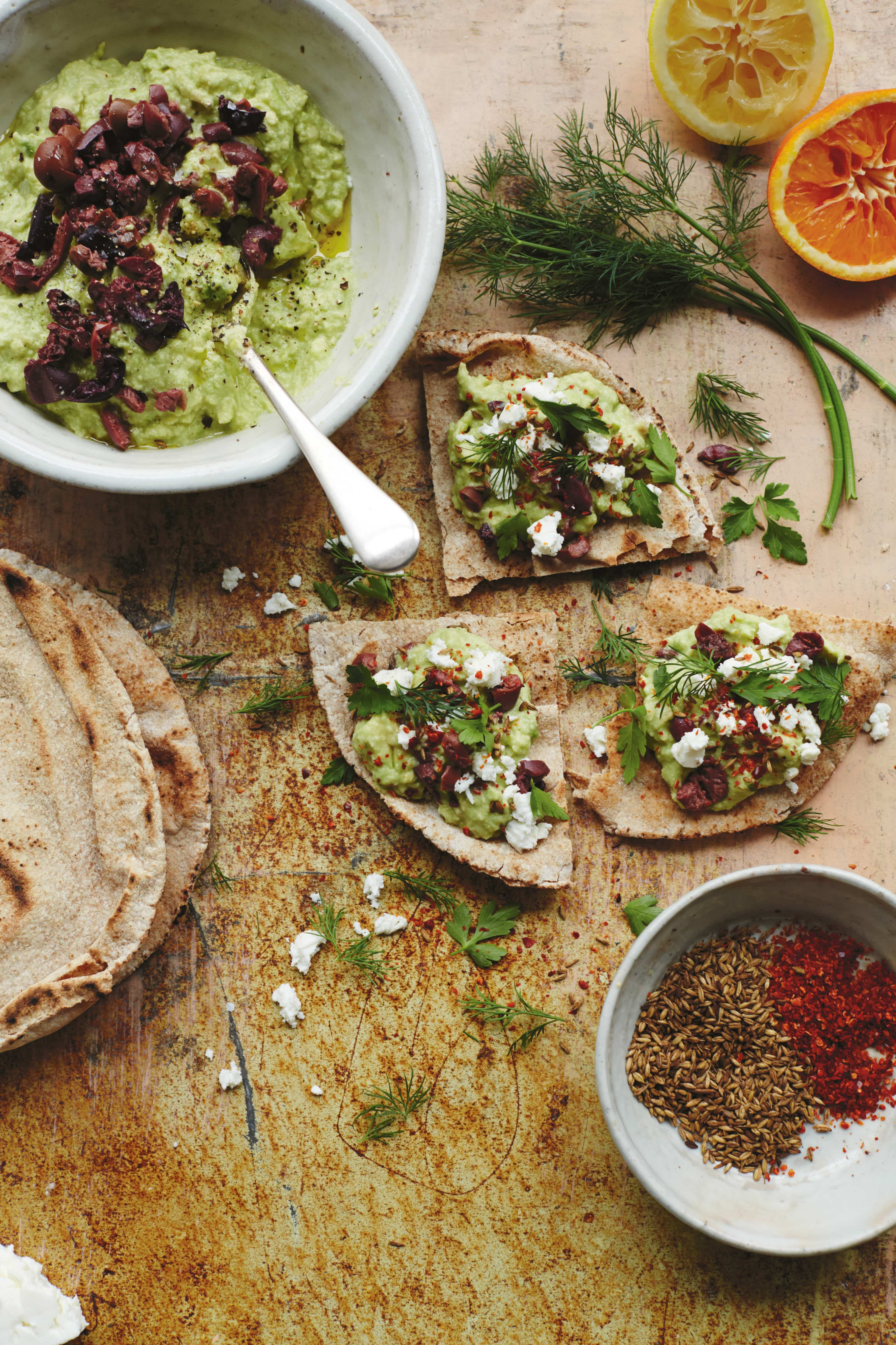 Avocado, Tahini and Olive Smash Flatbreads