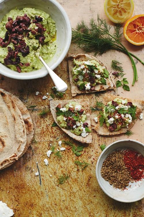Avocado, Tahini and Olive Smash Flatbreads