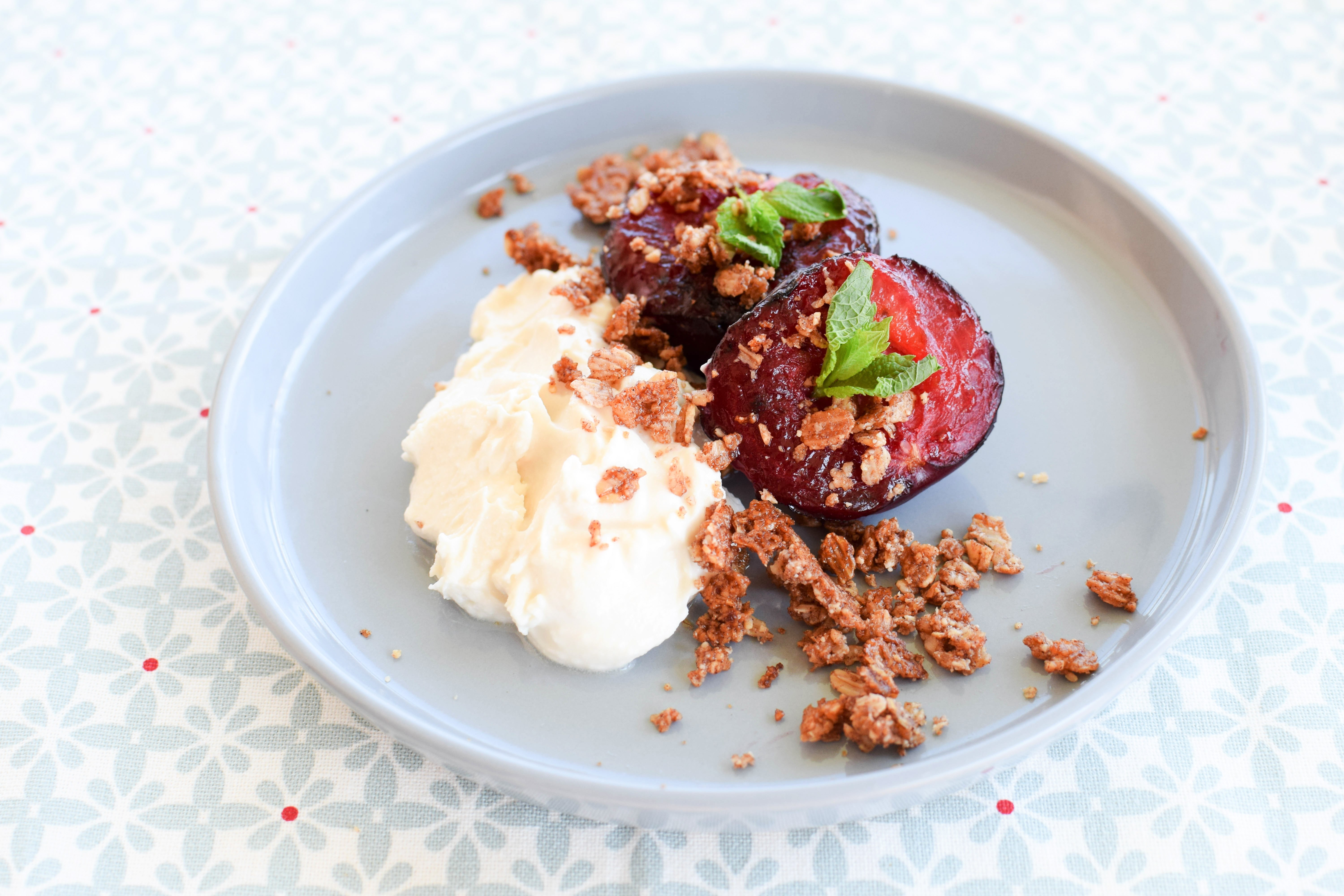 Roasted Plum & Oat Crumble