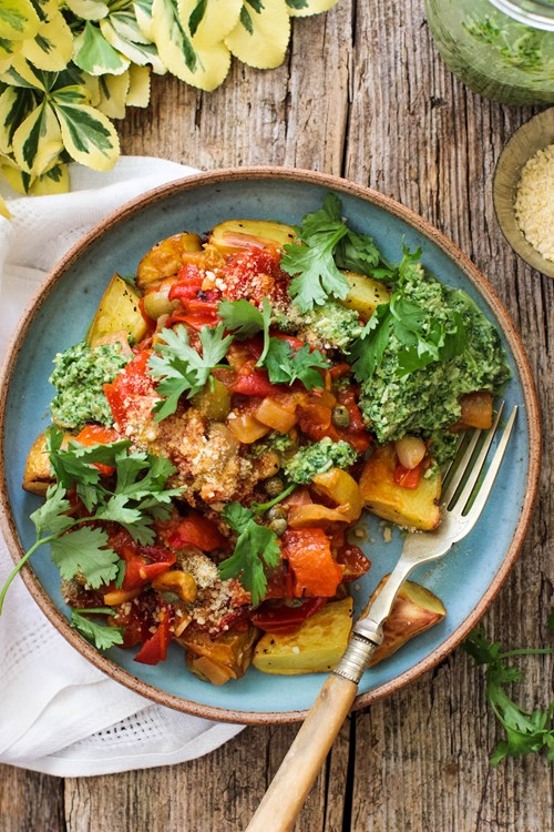 Roast Potatoes, Kale Pesto & Puttanesca Sauce