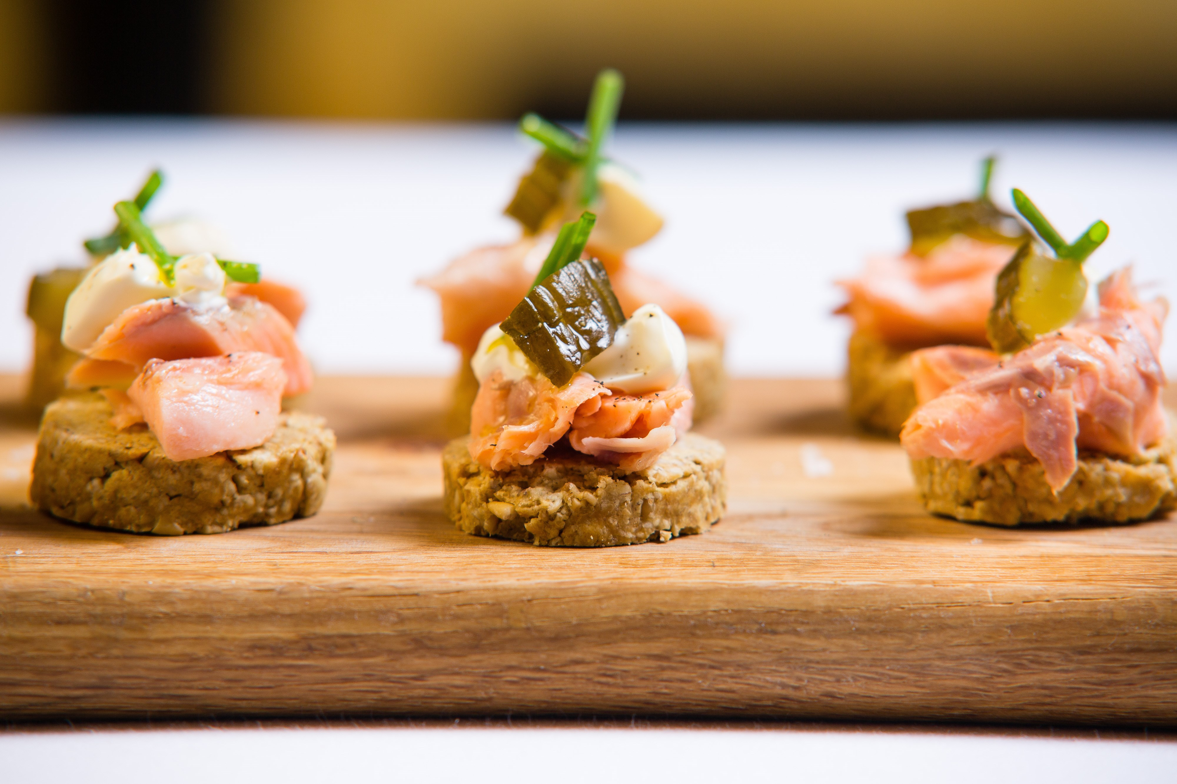 Cafe St Honore Oatcake and Trout Canapes