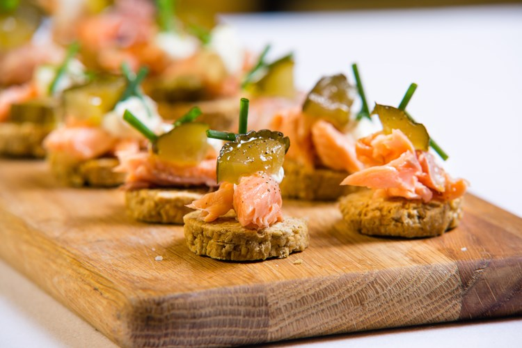 Cafe st honore oatcake and trout canapes for Smoked trout canape