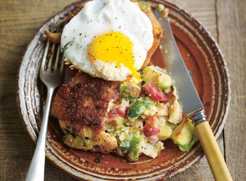 Parsnip, Sprout and Bacon Potato Cakes