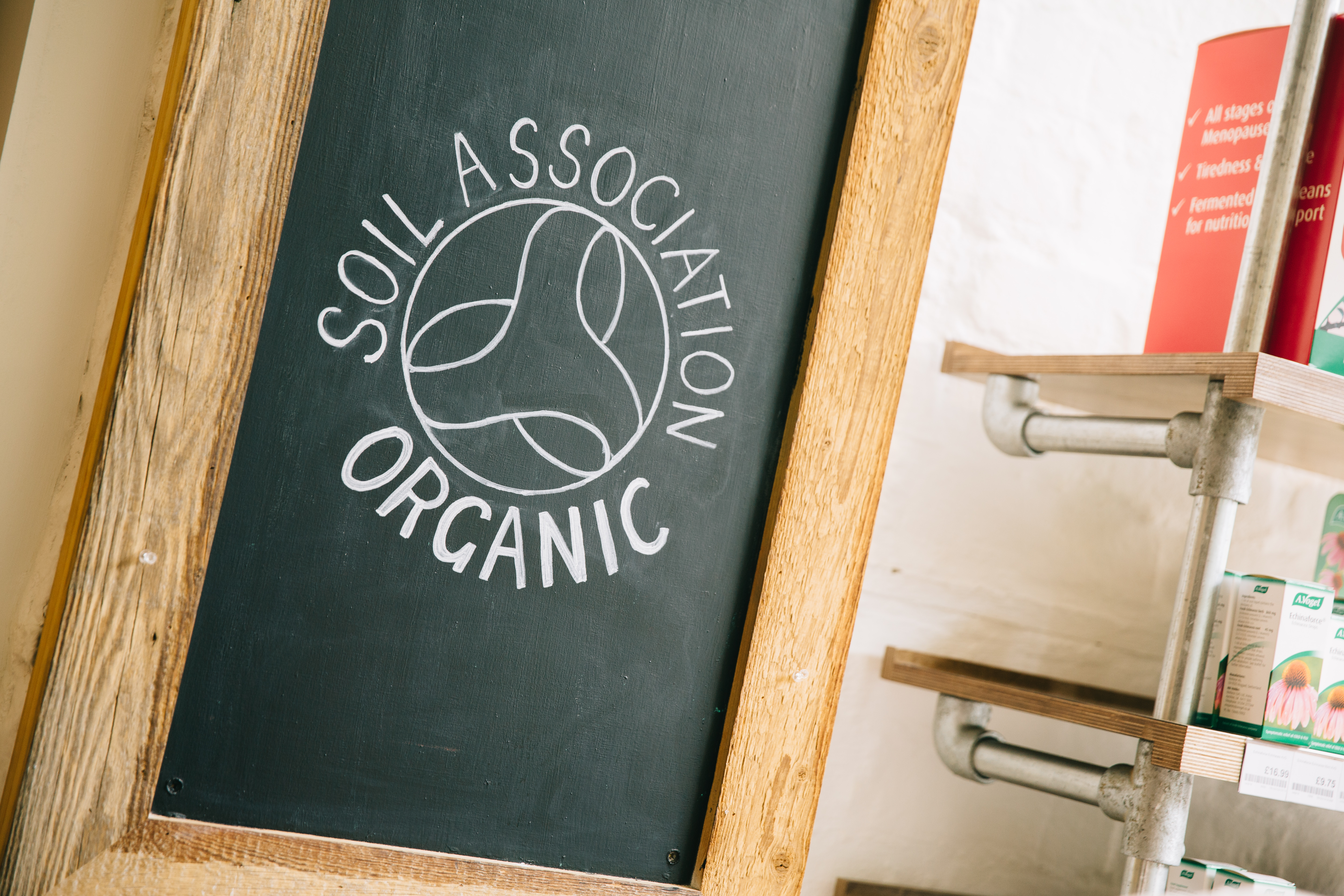 Soil Association logo on a chalk board
