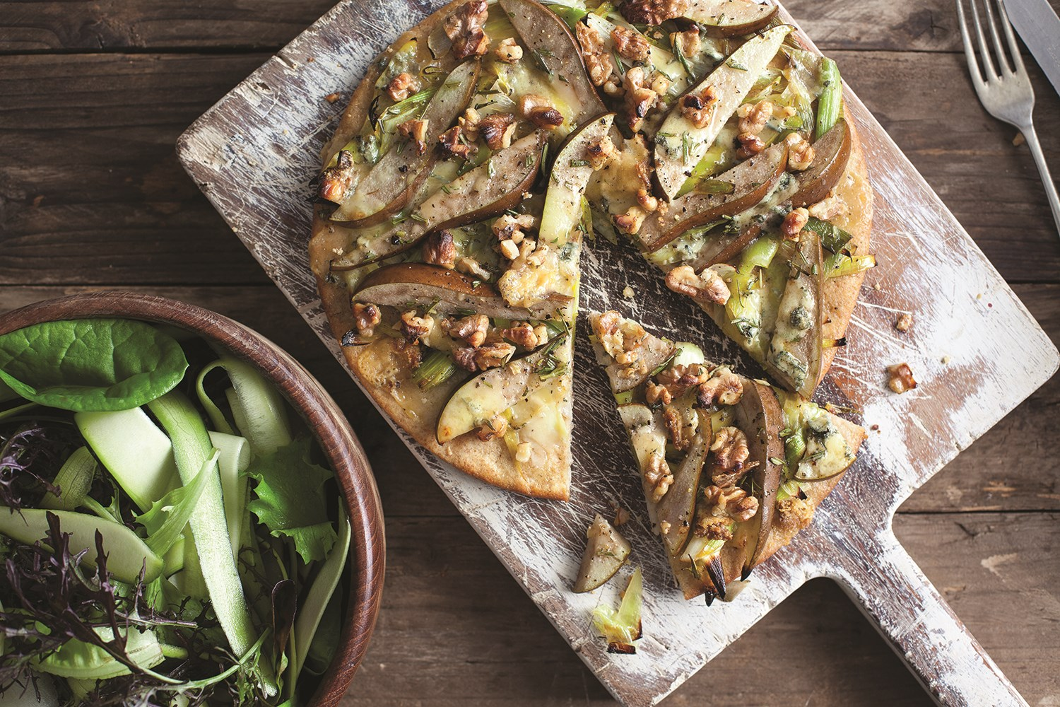 Leek, Pear & Walnut Pizza with Blue Cheese