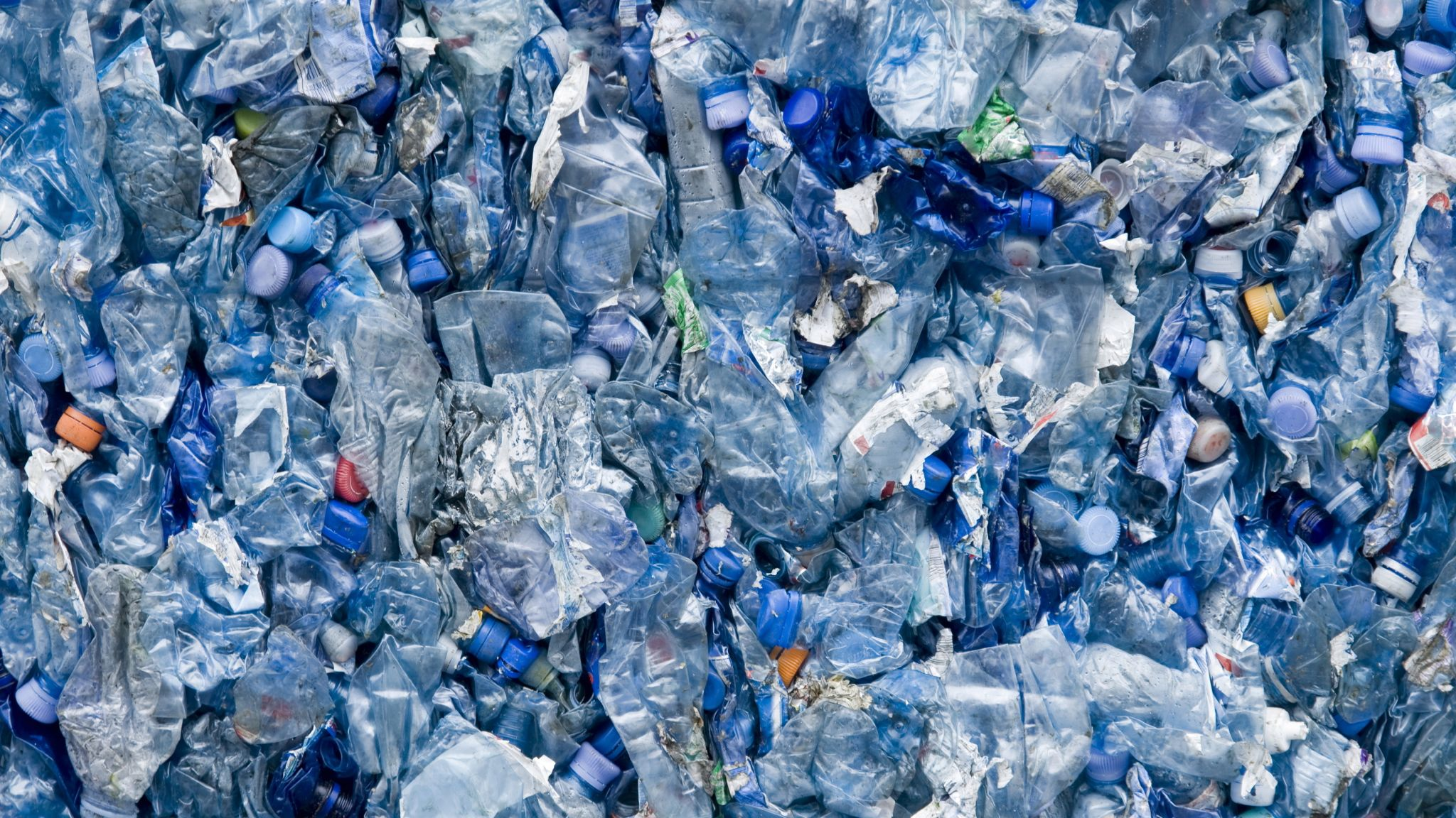 Plastic waste - a sea of crushed plastic bottles