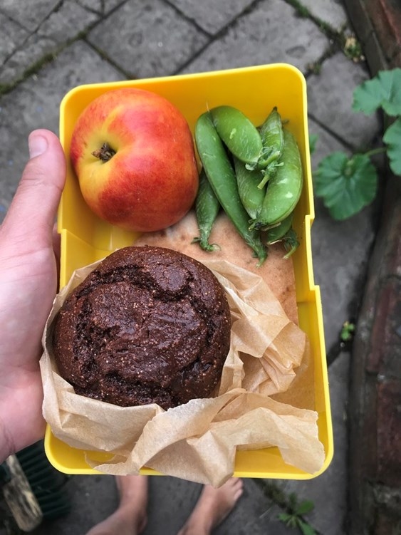 Muffin in Lunchbox with Peas and Apple