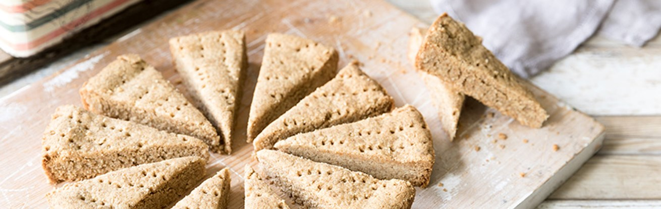 Almond Rye Shortbread Triangles