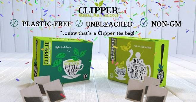Boxes of Clipper Tea - now plastic free, unbleached and non-GM