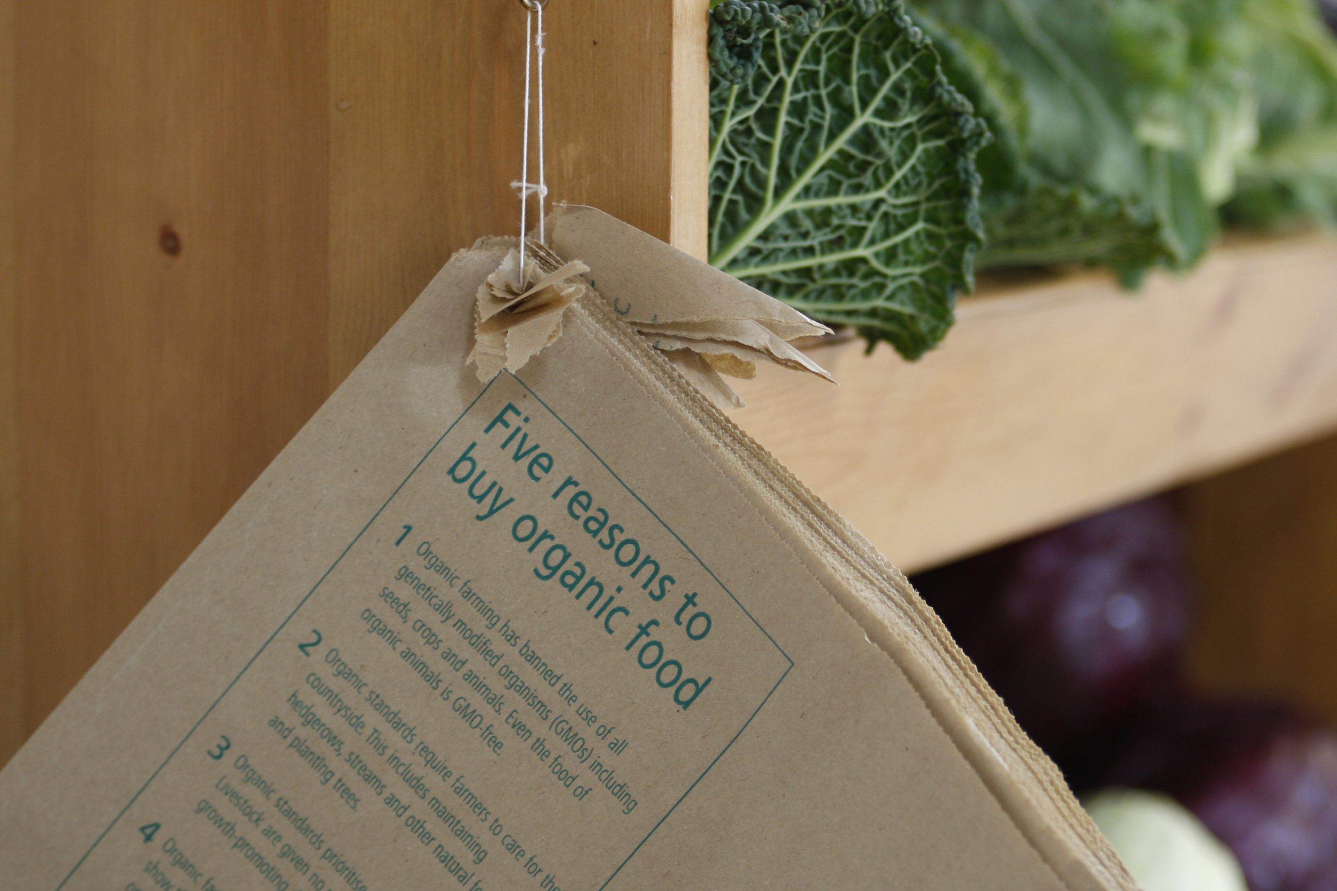 Paper bags with organic message hanging up next to vegetables on shelf