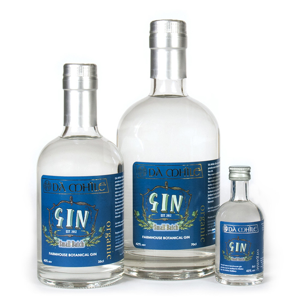 da mhile gin bottles in 3 sizes