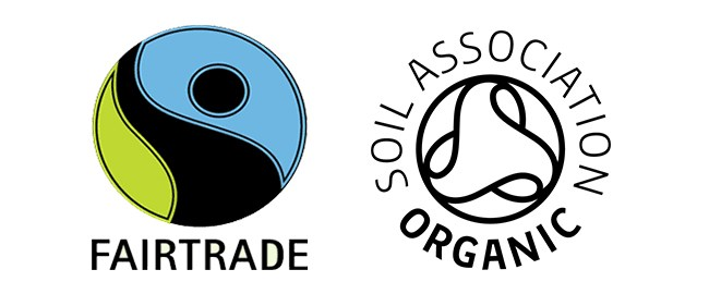Fairtrade and soil association organic logos