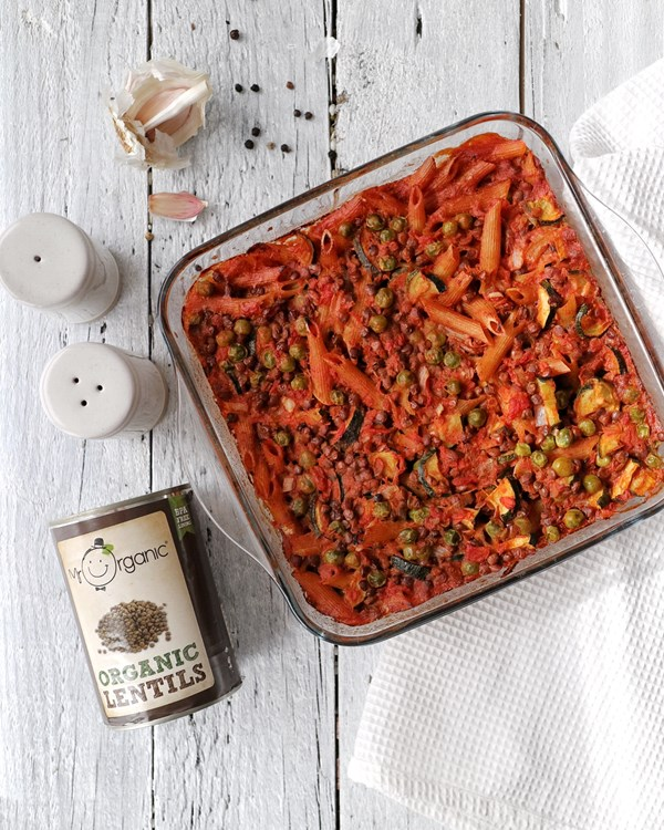 mr organic's lentil pasta bake, cooked and ready to eat
