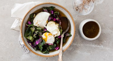 Organic Poached Eggs in Beef Bone Broth