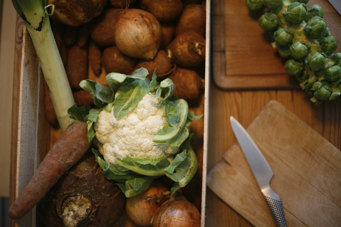 season winter veg box with brussels sprouts, cauliflower & carrots