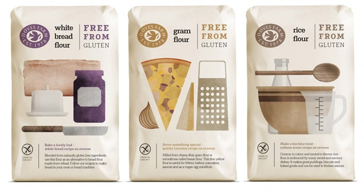 selection of doves farm gluten free flour
