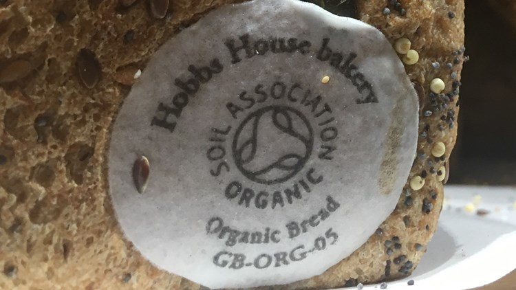 soil association logo on a loaf of bread