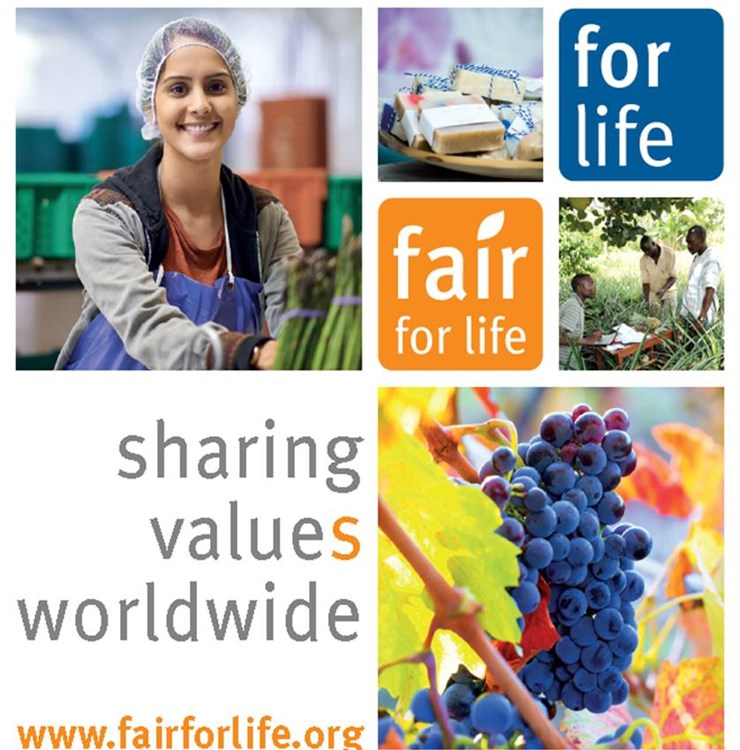 "Fair for Life and For Life promotional image with the phrase ""sharing values worldwide"""