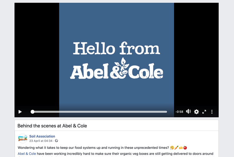 Facebook: Soil Association's 'Behind the scenes at Abel & Cole' video