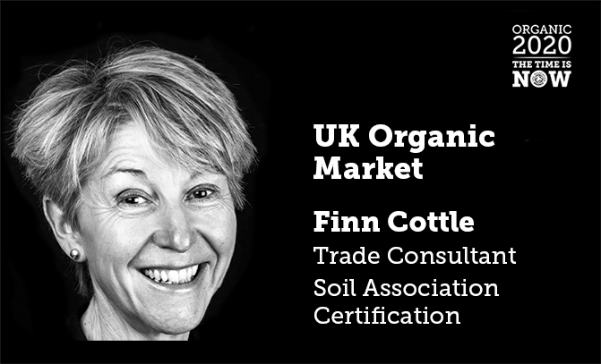 A presentation slide with a black and white portrait photo of Finn Cottle, Trade Consultant for the Soil Association Certification, about the UK Organic Market
