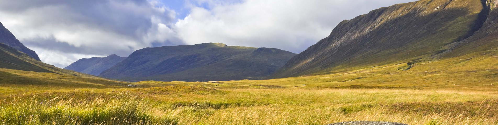 Glen near Glencoe with boulder and grassland and heather - Shutterstock.jpg