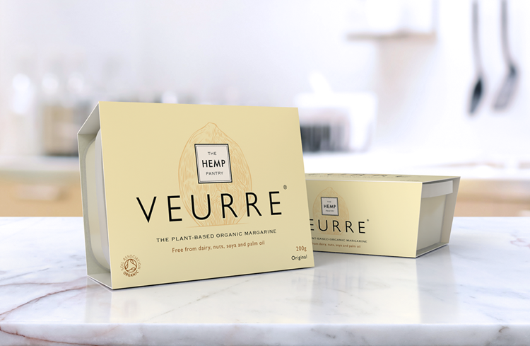 The Hemp Pantry Veurre Vegan Butter packs on a marble kitchen counter