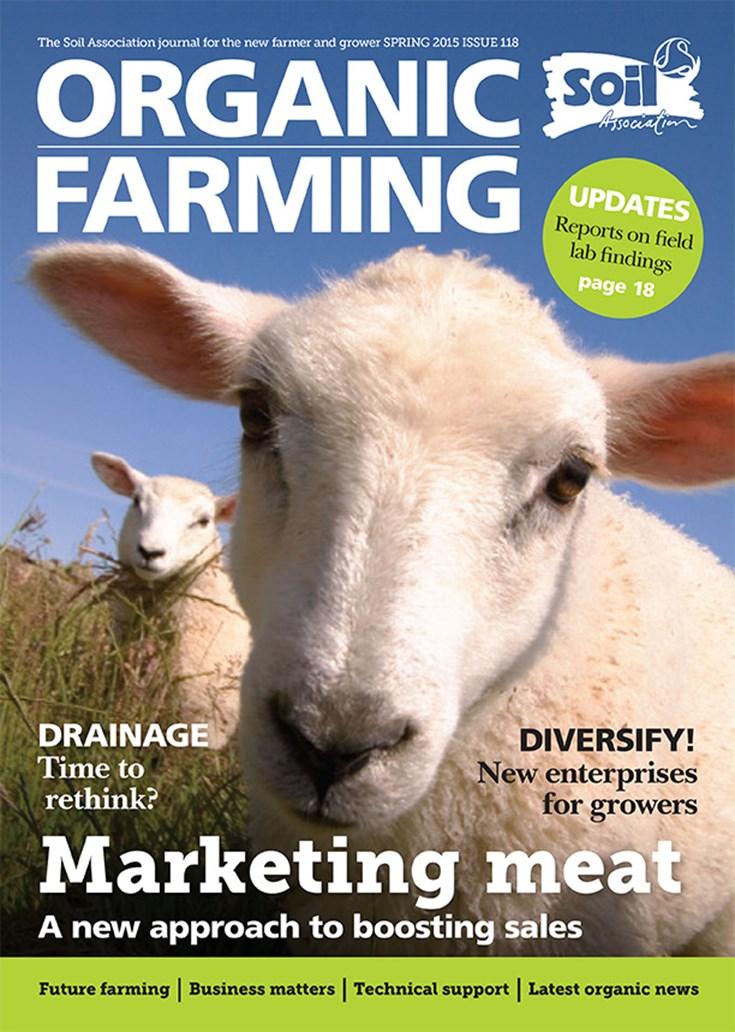 Cover of Spring 2015. Organic Farming Magazine