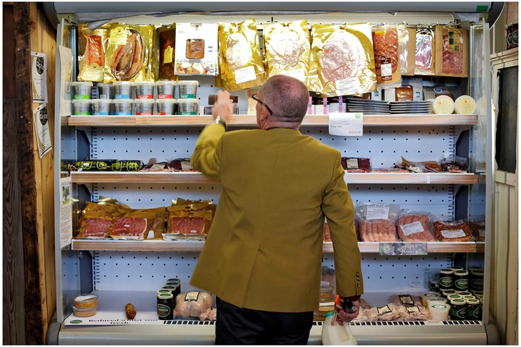 Browsing for meat in an independent organic retailer