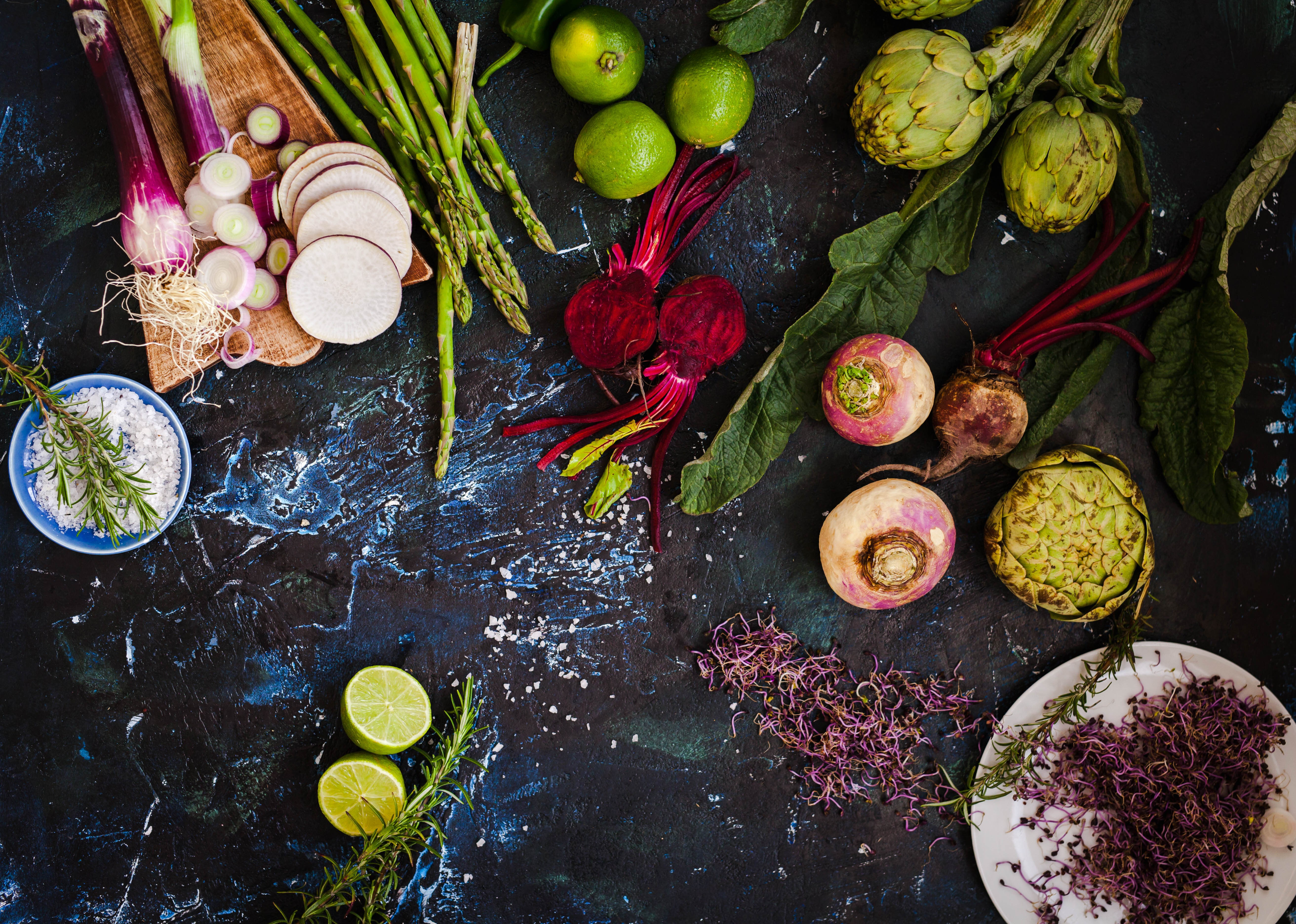 Fruits and vegetables on rustic background.jpg