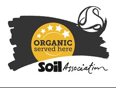 Organic Served Here five star logo