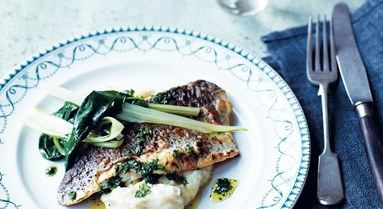 Jourdan Borke's sea bass & swiss chard recipe