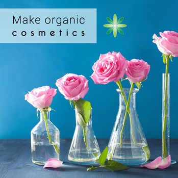 organic cosmetcis flowers in a bottle