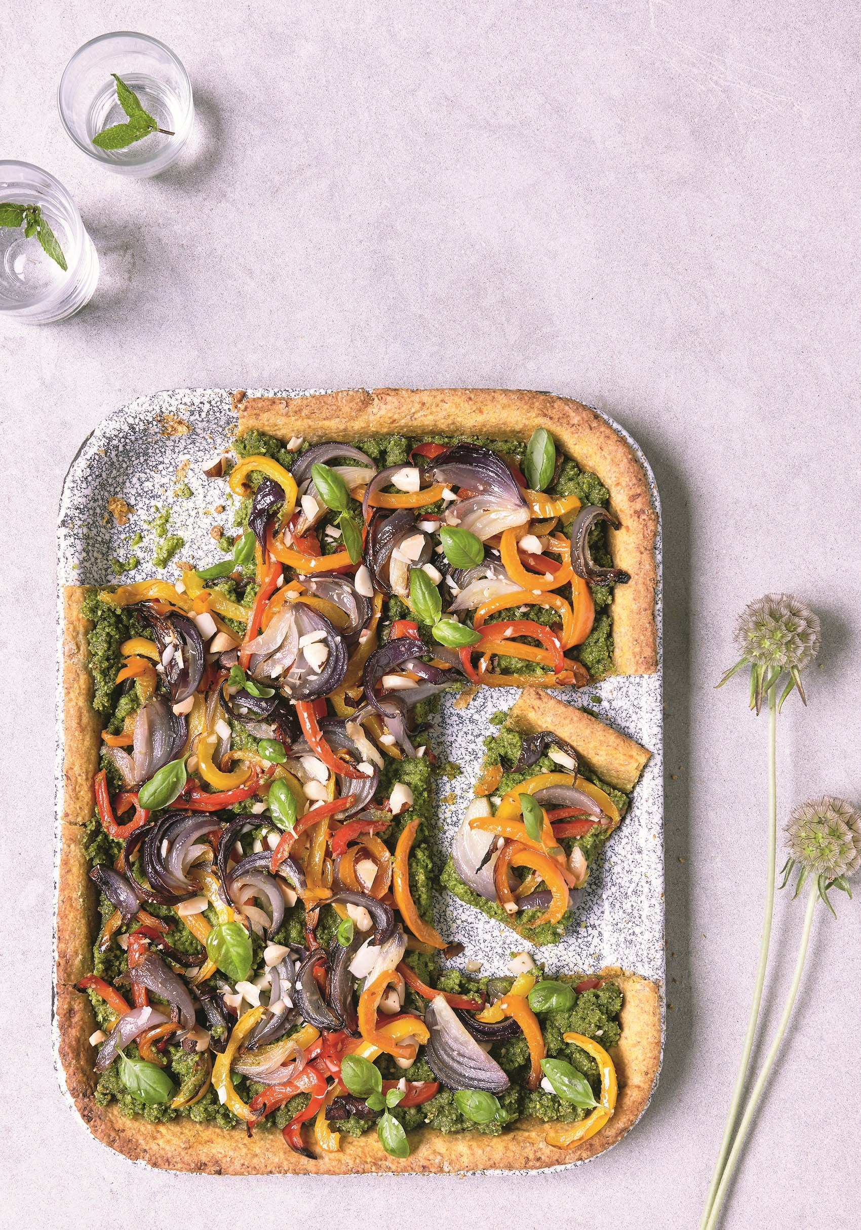 Niomi Smart's pepper & onion pesto tart
