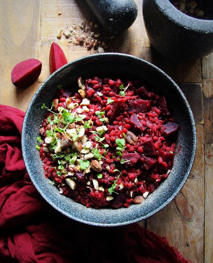Beetroot Risotto with ancient grains