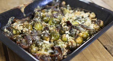 Riverford's brussels sprouts, red onion & blue cheese gratin